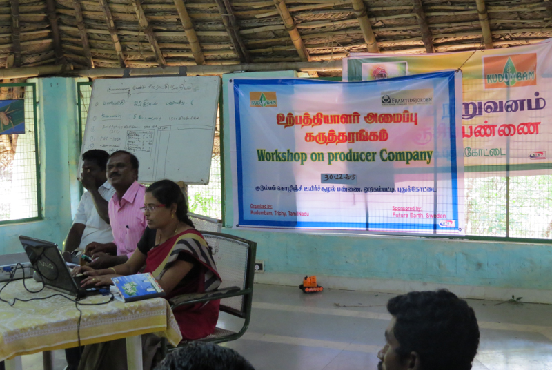 Workshop on the creation of a Producer Company for organic farmers held by Kudumbam NGO